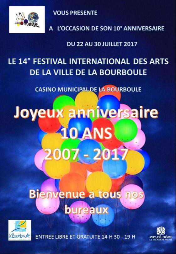 Affiche festival des arts la bourboule 22 au 30 juillet 2017