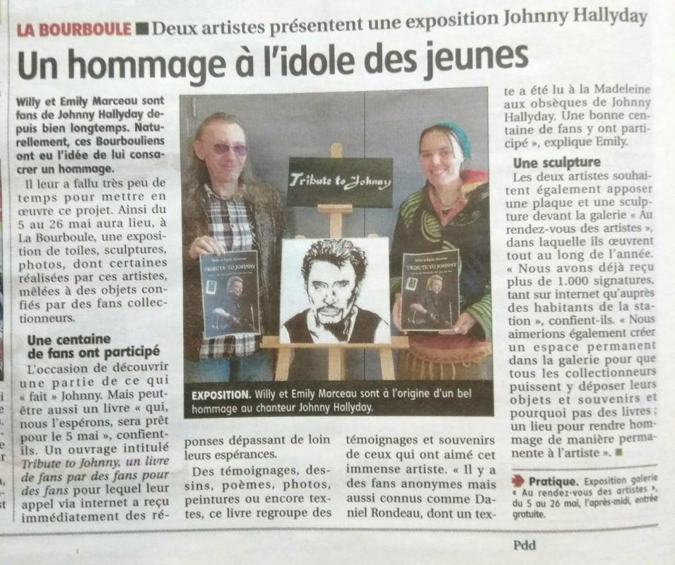 Article hommage a johnny la montagne issoire du 3 avril 2018